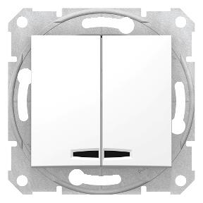 Двуклавішний вимикач  зсиньоюпідсвіткою  10 A - 250 В з пружинними зажимами : АСТ-Світлотехніка Київ SVT.org.UA