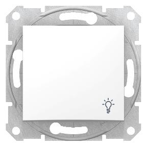 Одноклавишный кнопочный   выключатель с символом «свет»  10 A-250 В с пружинными зажимами : АСТ-Светотехника Киев SVT.org.UA