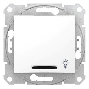 Одноклавишный кнопочный выключатель   с символом «свет» и синей подсветкой  10А-250В с пружинным зажимом : АСТ-Светотехника Киев SVT.org.UA